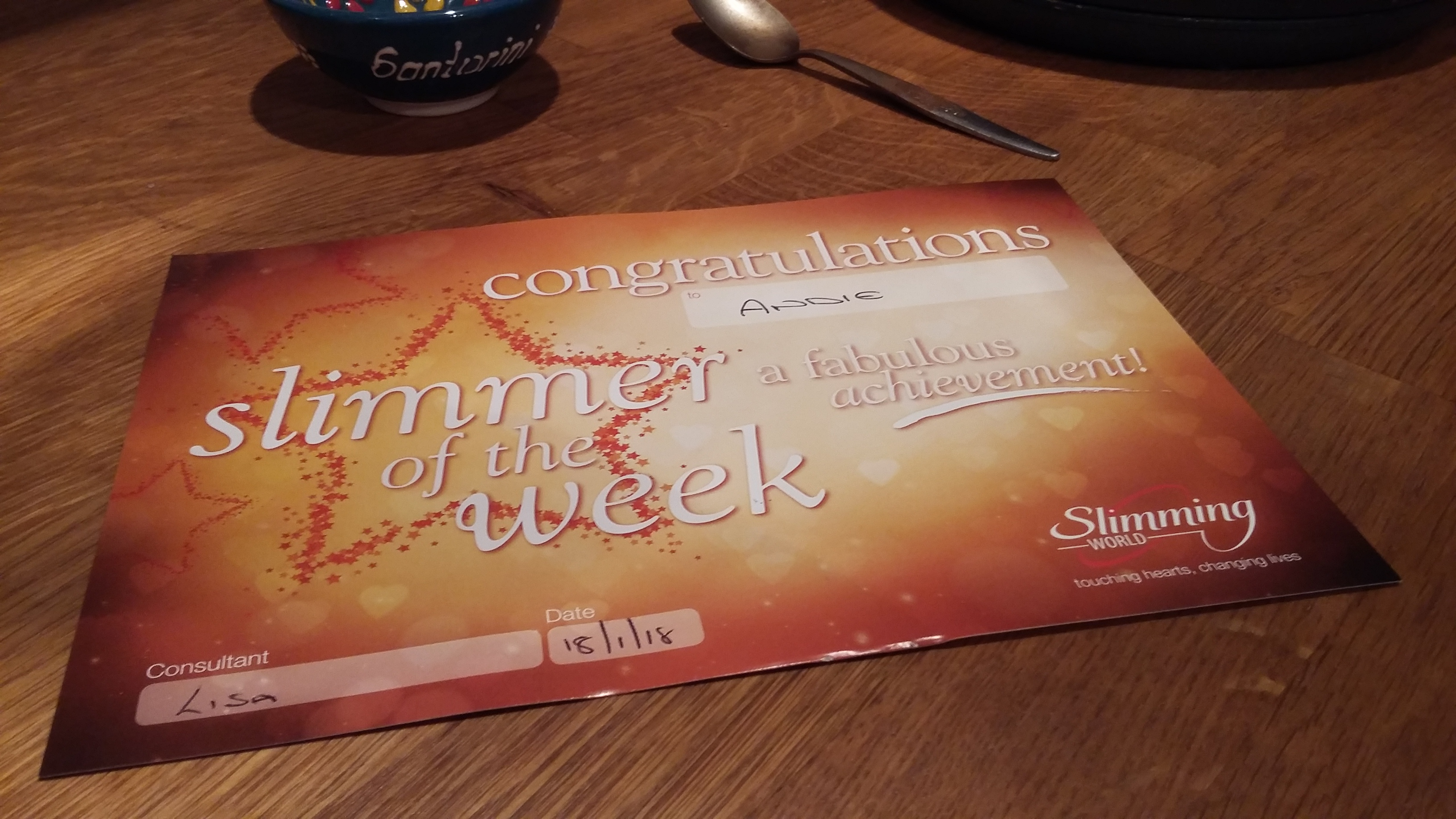 Slimmer of the Week – woo hoo!